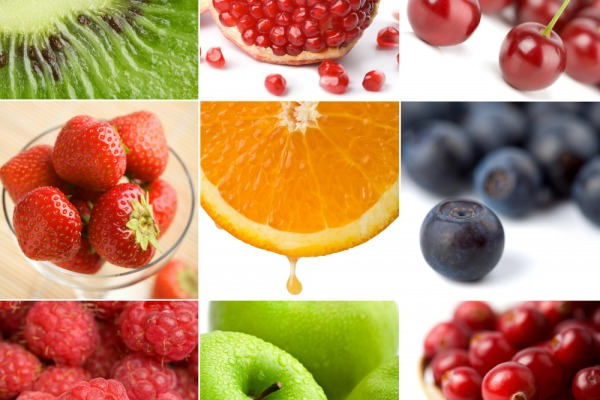colorful fruit collage of nine photos