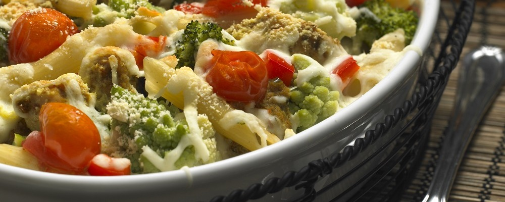 pasta baked with turkey and Roman cauliflower